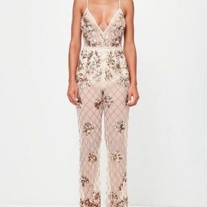 MISSGUIDED PEACE & LOVE EMBELLISHED CAMI JUMPSUIT